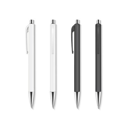 Realistic vector set of white and black automatic ballpoint pens.