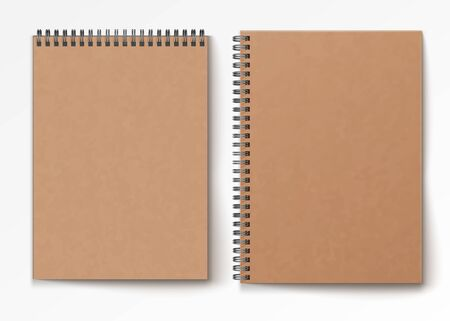 Blank closed realistic spiral notepad mockup isolated on white background.