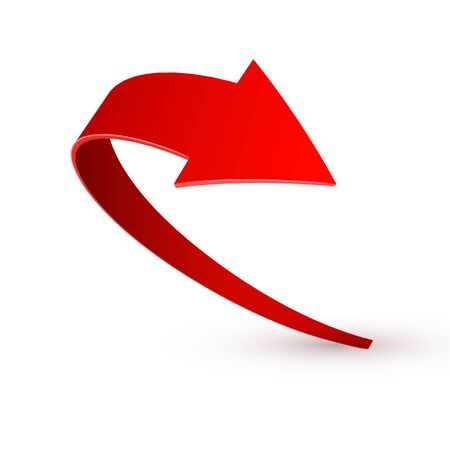 Realistic red swirling arrow. Vector illustration on a white background.