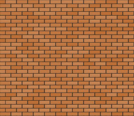 Orange brown realistic brickwall. Vector seamless texture Stock Illustratie