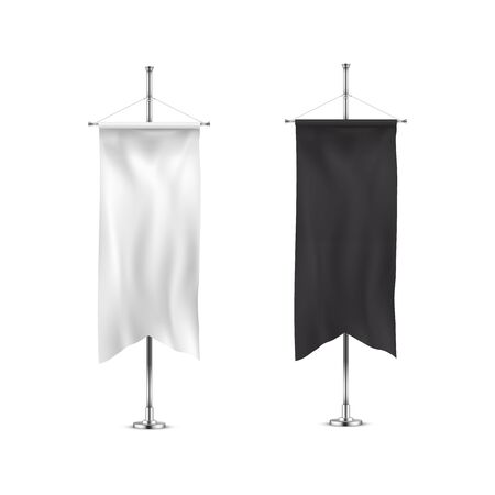 Vertical banners hanging on a metal flagpole white and black flags templates.