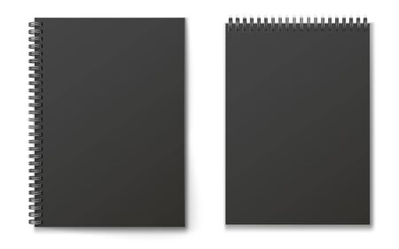 Realistic black modern vertical closed realistic spiral notepad mockup set.