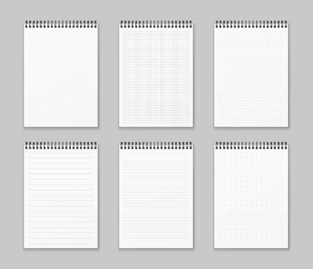 Vector set of realistic and vertical spiral notebooks. Realistic notepads lined and dots paper page isolated grey background. Art design clean spiral notepad blank mockup template