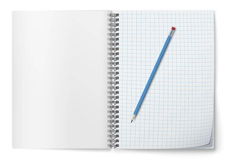 Realistic vector open horozontal spiral notepad and blue pencil .