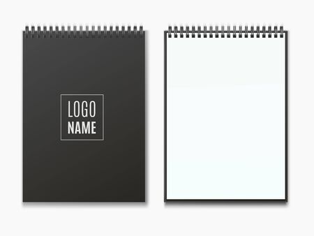 Realistic black vertical open and closed realistic spiral notepad mockup.
