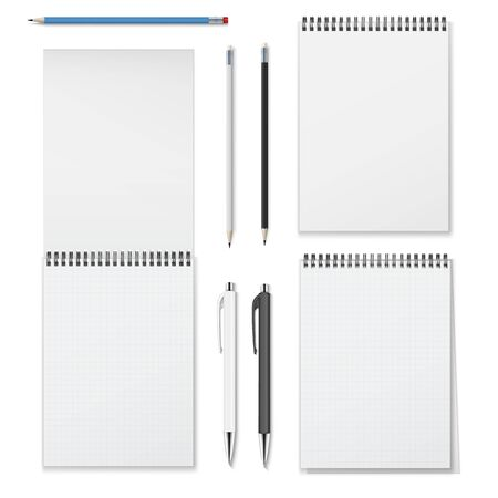 Realistic vector set of vertical spiral notebooks open closed and writing instruments such as pencils and pens.