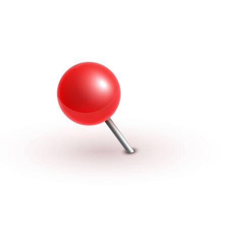 Realistic vector plastic glossy red push pins at various angles set needle.