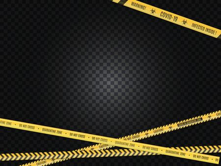 The intersecting yellow in a black strip warning fencing tape on white background. Biological hazard.
