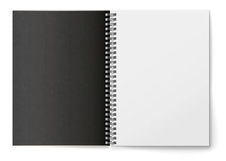 Realistic black blank horizontal open realistic spiral notepad mockup.