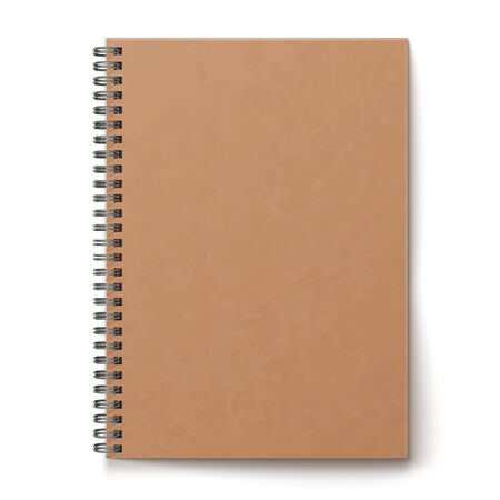 Realistic horizontal closed realistic spiral notepad mockup. Isolated notebook on white background.
