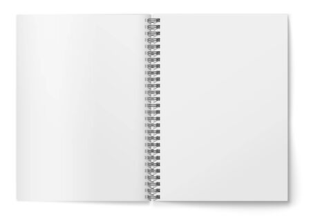 Realistic Blank horizontal open realistic spiral notepad mockup.