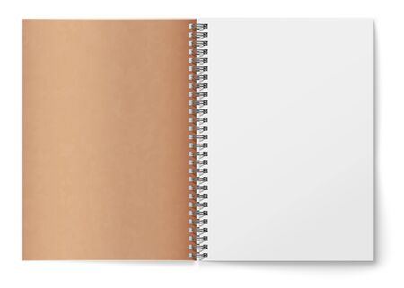 Realistic horizontal open realistic spiral notepad mockup. Brown cardboard texture cover