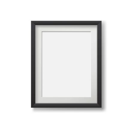 Realistic modern frame for paintings isolated on white background.
