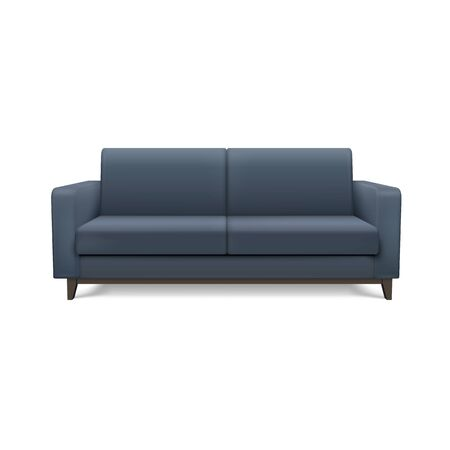 Gray realistic modern sofa. Furniture for the living room or lounge.
