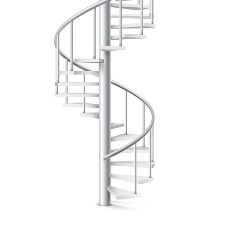 Spiral staircase realistic 3d object on a white background