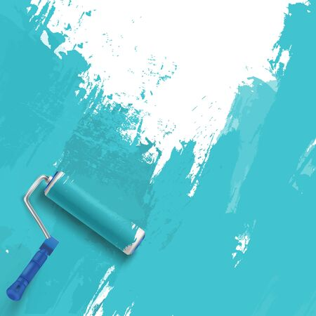 Painting the wall. Blue background with roller brush.