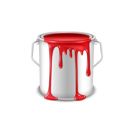 Open tin can with spilled red paint.