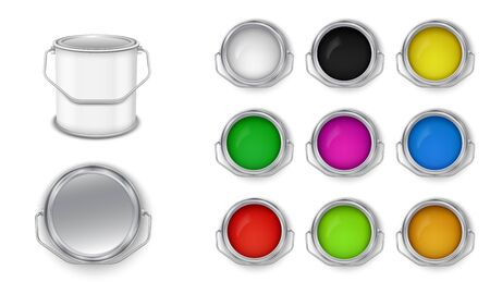 Open cans with building paint multicolored vector set. Front view.
