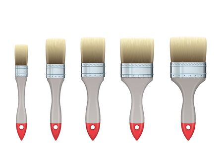 Realistic vector set of wooden flat construction brushes of various widths.
