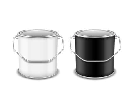 Equipment for painting. Black and white tin bucket Isolated on white background.