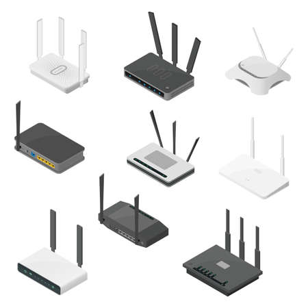Isometric set of routers. Isometric realistic vector icons isolated on white background.
