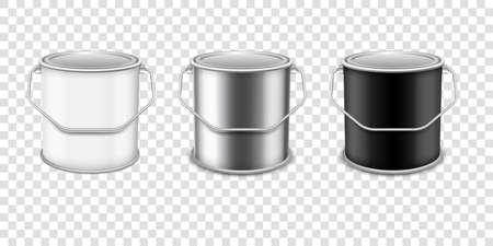 Realistic vector 3D mockup paint can set . Realistic template for advertising paintwork products. Stock Illustratie