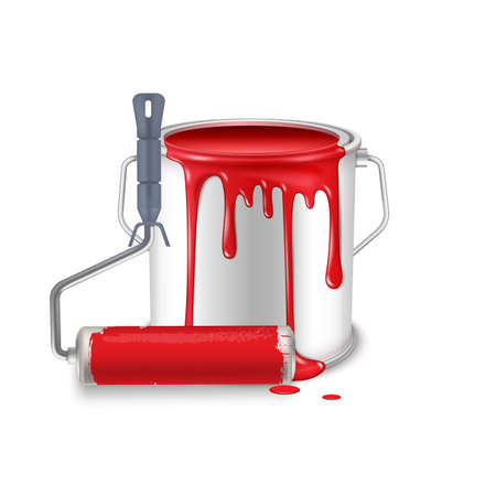 An open tin can with spilled red paint and a roller brush smeared in paint.