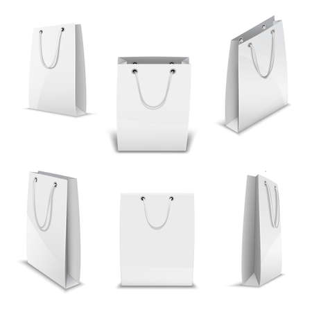 Paper bags for shopping realistic 3D vector templates set. Stock Illustratie