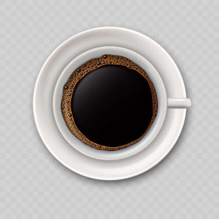 Modern realistic icon with black coffee cup top view. I