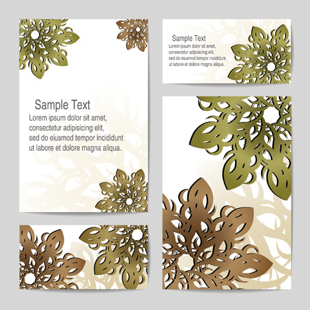 fall leaves border: Vector template. Patterns in the form of flowers on a light background. Invitation, envelope, postcard, banner.