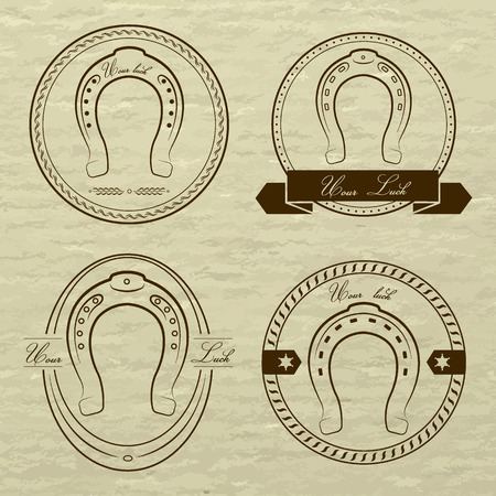 vaquero: Logotipos de herradura en diferentes estilos. Con la inscription- su suerte. EPS 8