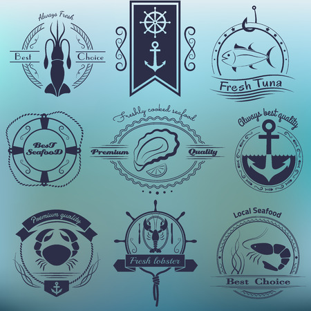 fish shop: Vector set of logos seafood. Squid, tuna, oysters, crab, lobster, shrimp and design elements. EPS 10