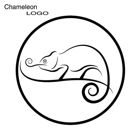 Chameleon. Round logo.