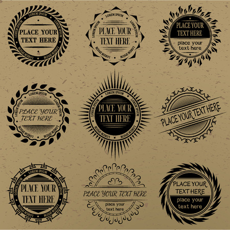 round logo: Set of vintage signs and labels.