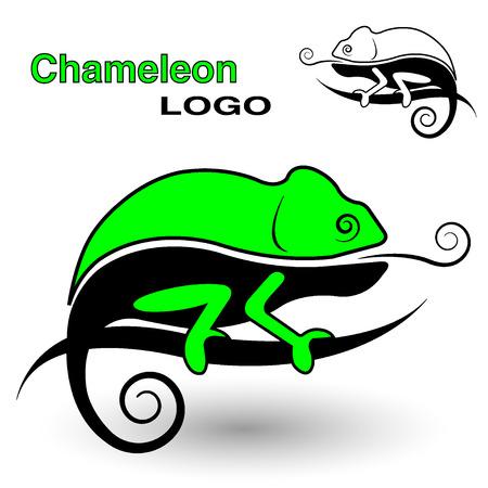 Chameleon logo. Zwart-wit en kleur versie. Stock Illustratie