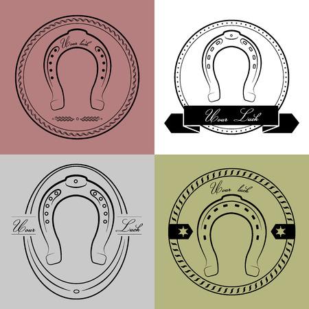 herradura: Logotipos de herradura en diferentes estilos. Con la inscription- su suerte.