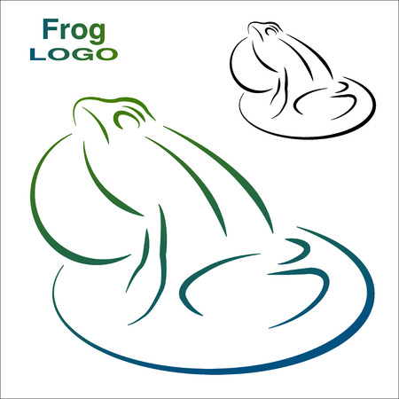 croaking: Logo of the frog. Color and Black and white version.