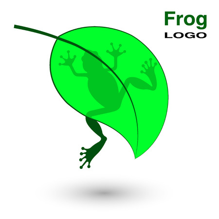 Logo with a frog on a bright green leaf. Vector