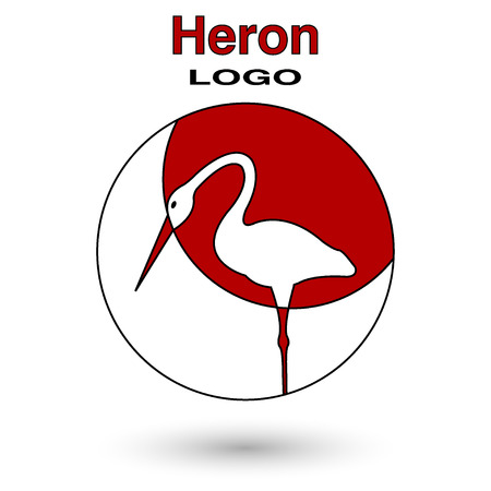 wader: Round logo heron on a background of the sun. Illustration