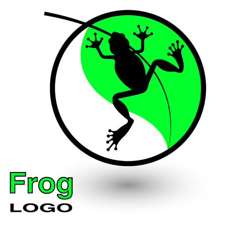 Round logo with a frog on a bright green leaf. Vector