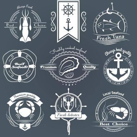 로고 해산물의 집합입니다. 오징어, 참치, 굴, 게, 가재, 새우, 디자인 요소입니다.