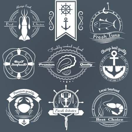 Vector set of logos seafood. Squid, tuna, oysters, crab, lobster, shrimp and design elements.
