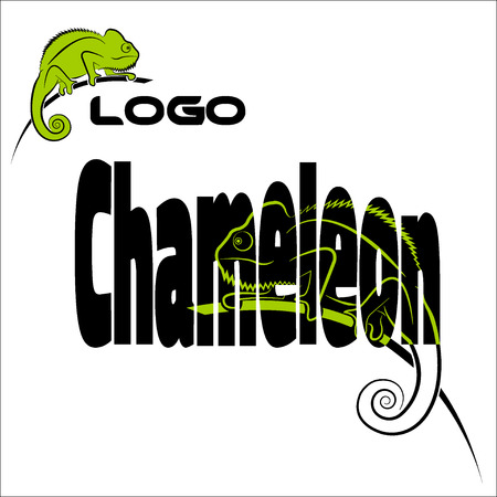 chameleon lizard: The word with the image of a chameleon, and a separate logo chameleon.