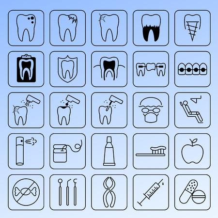 cavity braces: Dental icons set. Illustration