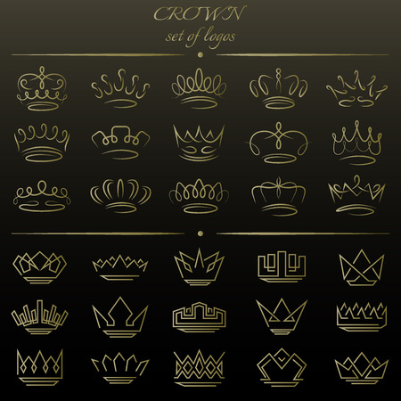 Set of crowns in different styles. Vectores