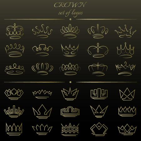 Set van kronen in verschillende stijlen.