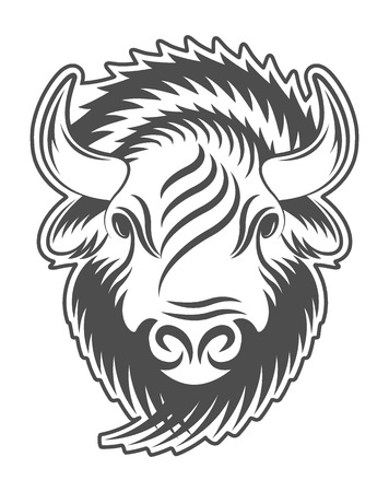 bison: illustration of an animal emblem