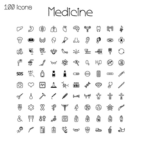 Collection of medical and healthcare icons.