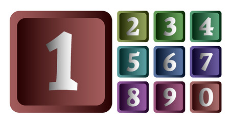 web 2 0: Colorful numbers in the form of buttons.  Illustration