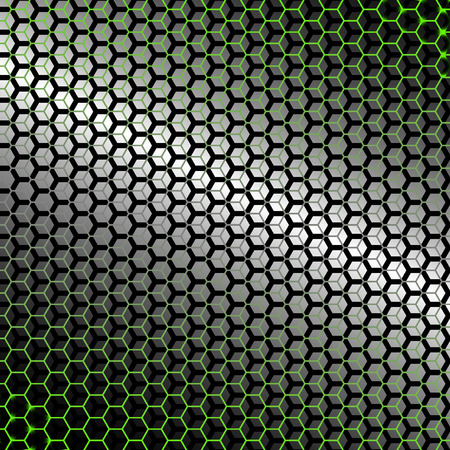 backlight: Metal abstract background of hexagons with green backlight.  Illustration